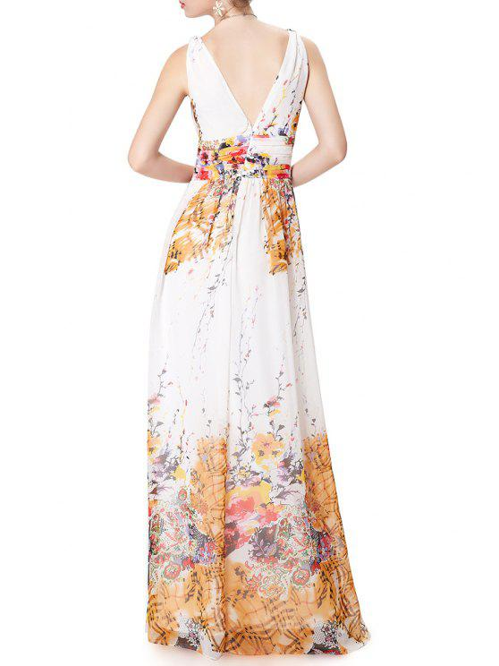 sale Flower Print Plunging Neck Sleeveless Maxi Dress - WHITE S