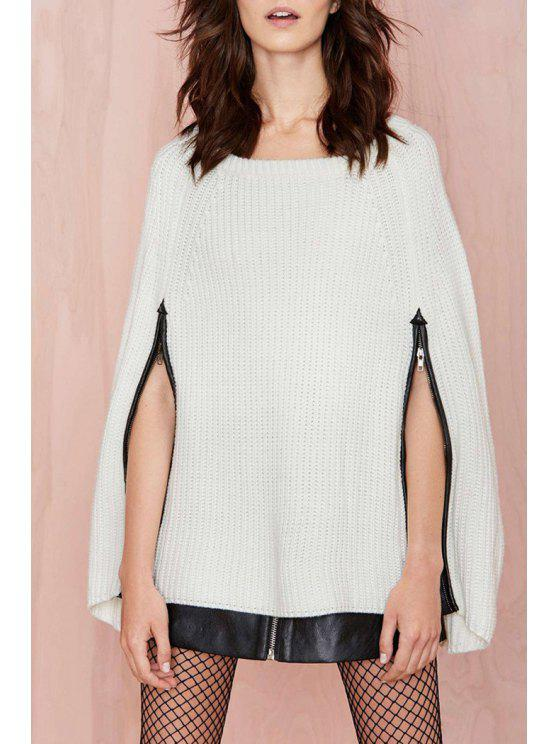 women Round Neck Zippered White Cape Sweater - WHITE ONE SIZE(FIT SIZE XS TO M)
