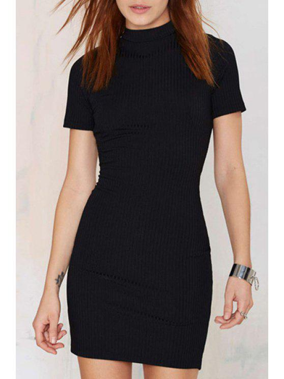 ladies Black Backless Short Sleeve Knitted Dress - BLACK S