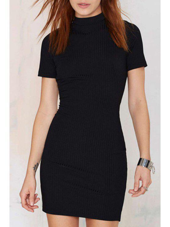 online Black Backless Short Sleeve Knitted Dress - BLACK L