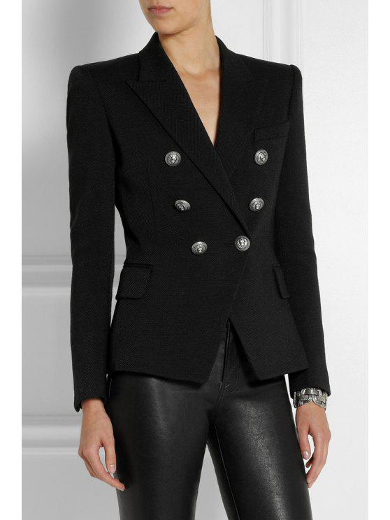 lady Lapel Double-Breasted Black Blazer - BLACK S
