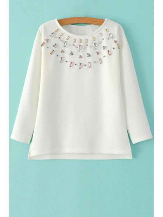 Diamante Jewel Neck Langarmshirt - Weiß M