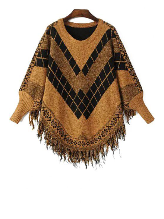 lady Long Sleeves Argyle Pattern Sweater - BROWN ONE SIZE(FIT SIZE XS TO M)
