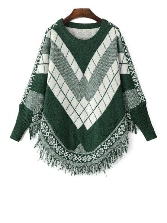 b0b264906cc0f 2018 Long Sleeves Argyle Pattern Sweater In GREEN ONE SIZE(FIT SIZE ...