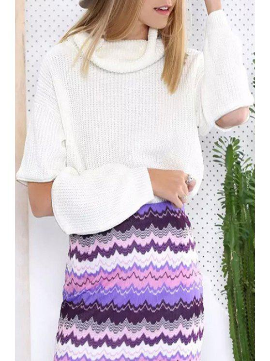 chic White Turtle Neck Pullover Sweater - WHITE ONE SIZE(FIT SIZE XS TO M)