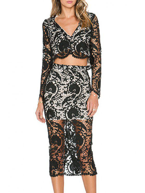 chic Openwork Lace Hook Crop Top and High-Waisted Skirt Suit - BLACK S