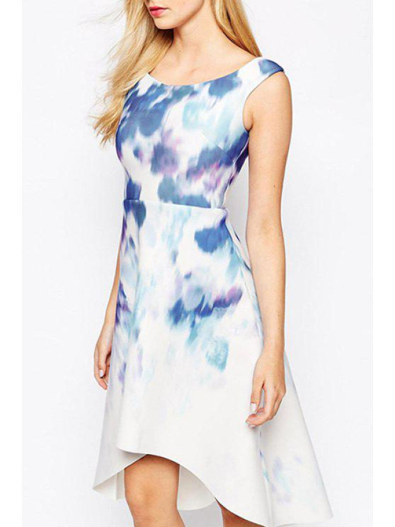 women's Scoop Neck Tie Dye High Low Sleeveless Dress - WHITE L
