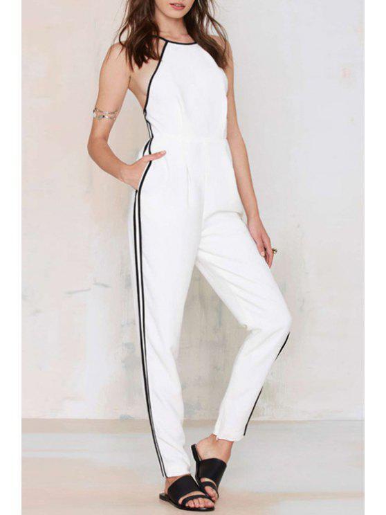 shops Spaghetti Strap Black Stripe Backless Jumpsuit - WHITE S