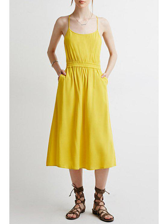 trendy Spaghetti Strap Backless Pure Color Sleeveless Dress - YELLOW L