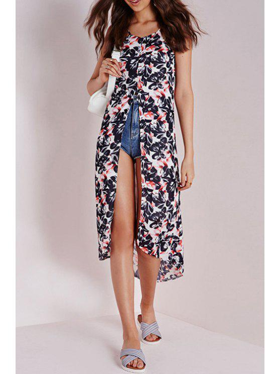 outfit Spaghetti Strap Floral Print High Split Tank Top - COLORMIX S