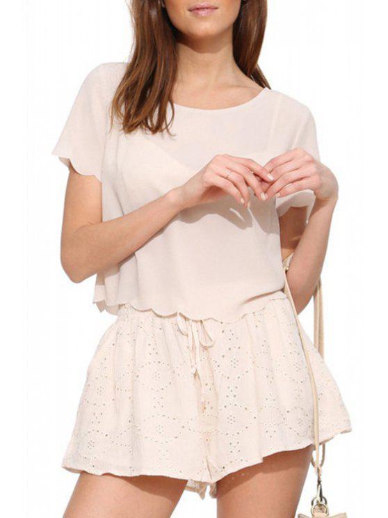unique Scoop Neck Solid Color Back Slit T-Shirt - OFF-WHITE S