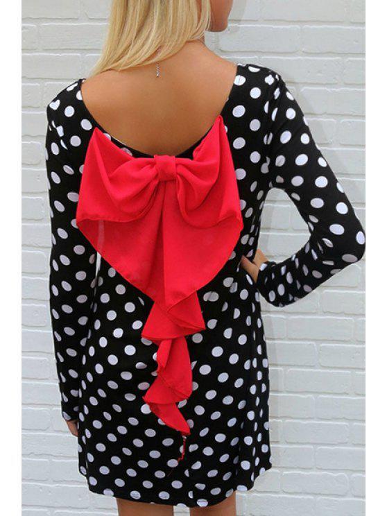 hot Long Sleeve Polka Dot Bowknot Dress - COLORMIX XL