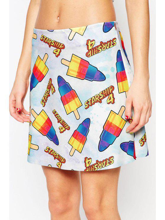hot Colorful Ice Cream Print Skirt - BLUE S
