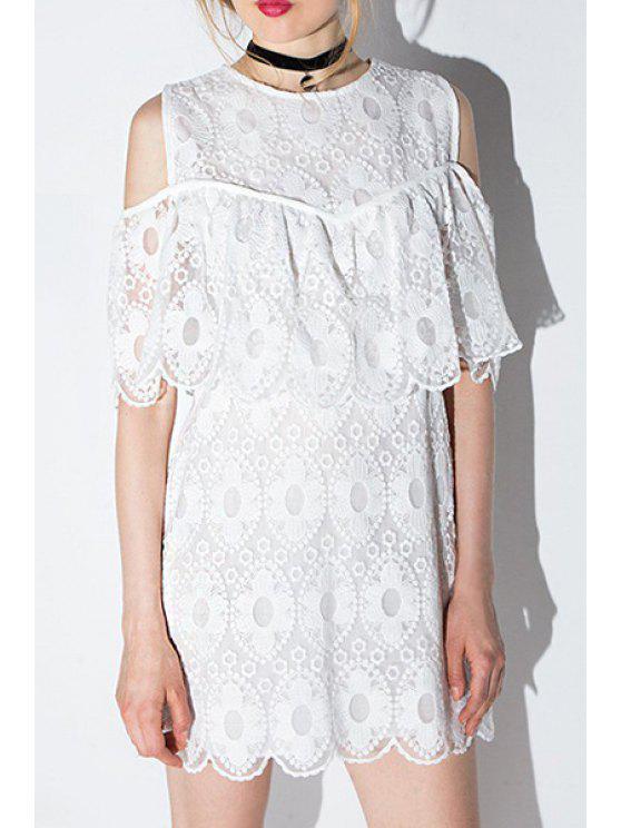 sale Floral Pattern Flounce Splicing Short Sleeve Dress - WHITE S