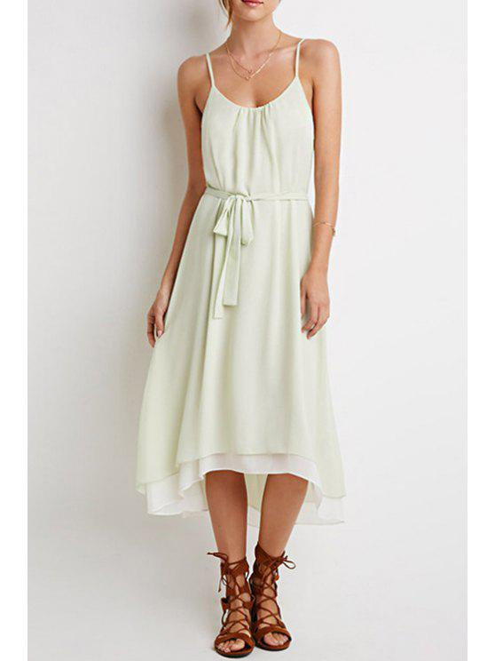 outfit Spaghetti Strap Solid Color Multi-Layered Dress - MINT GREEN S