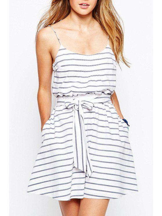 new Spaghetti Strap Stripes Tie-Up Sleeveless Dress - AS THE PICTURE S