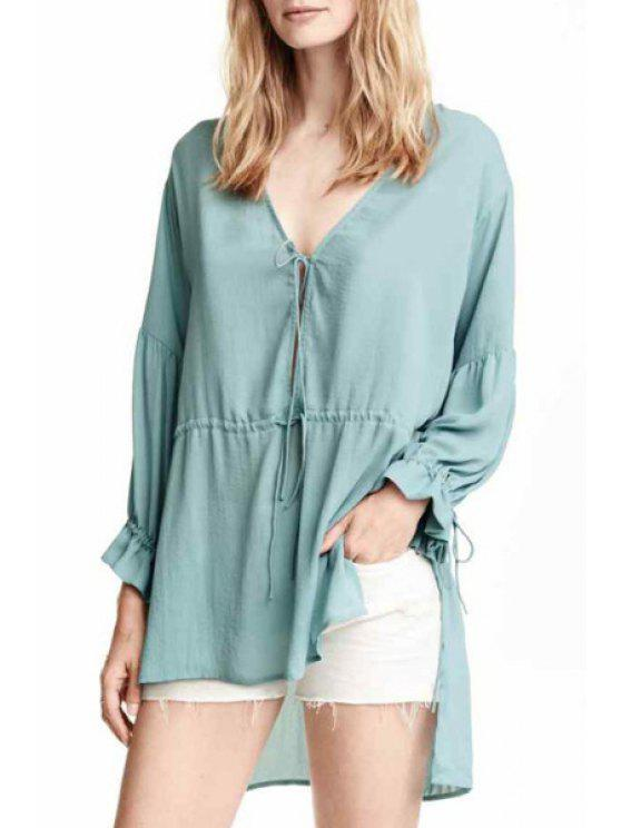 fancy Tie-Up High Low Long Sleeve Blouse - GREEN S