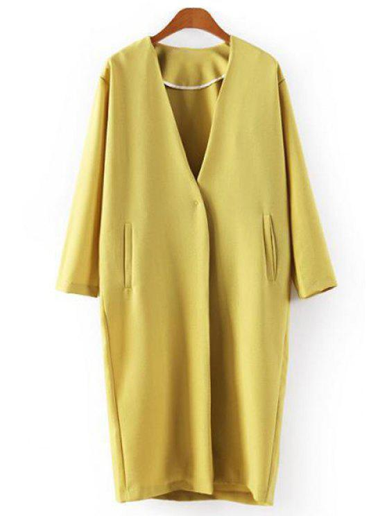 shops Yellow Plunging Neck Long Sleeve Coat - YELLOW M