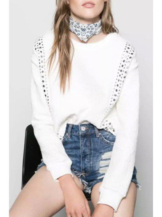 latest Sequined Embellished White Long Sleeve Sweatshirt - WHITE S