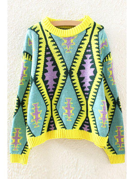 women's Geometric Pattern Colorful Jumper - YELLOW ONE SIZE(FIT SIZE XS TO M)
