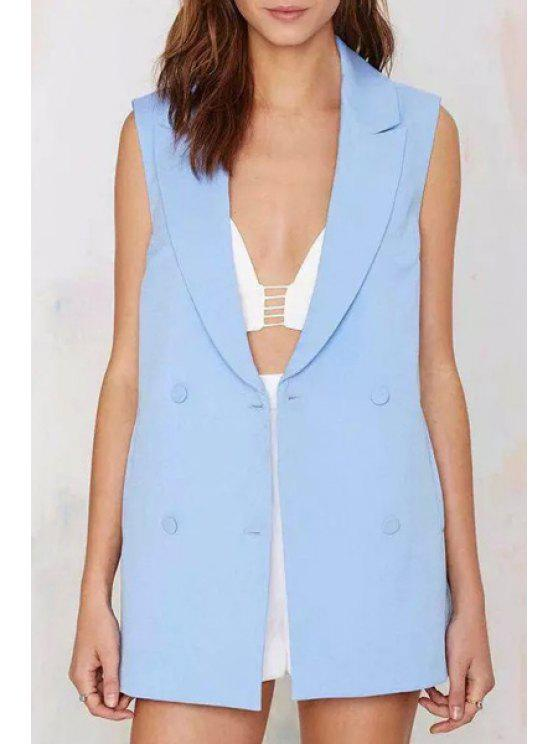 best Lapel Double-Breasted Solid Color Sleeveless Waistcoat - LIGHT BLUE S