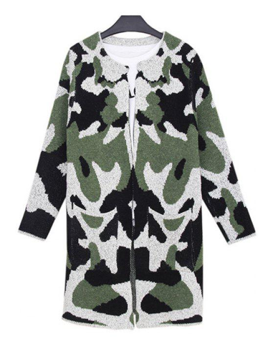 online Camouflage Pattern Big Pocket Long Cadigan - ARMY GREEN ONE SIZE(FIT SIZE XS TO M)