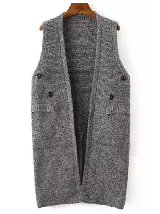 outfit Solid Color Button Embellished Sleeveless Waistcoat - GRAY ONE SIZE(FIT SIZE XS TO M)