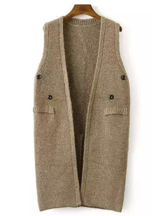 hot Solid Color Button Embellished Sleeveless Waistcoat - KHAKI ONE SIZE(FIT SIZE XS TO M)