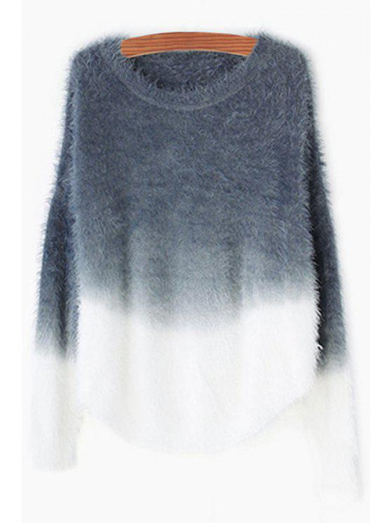 chic Loose-Fitting Ombre Color Sweater - GRAY ONE SIZE(FIT SIZE XS TO M)