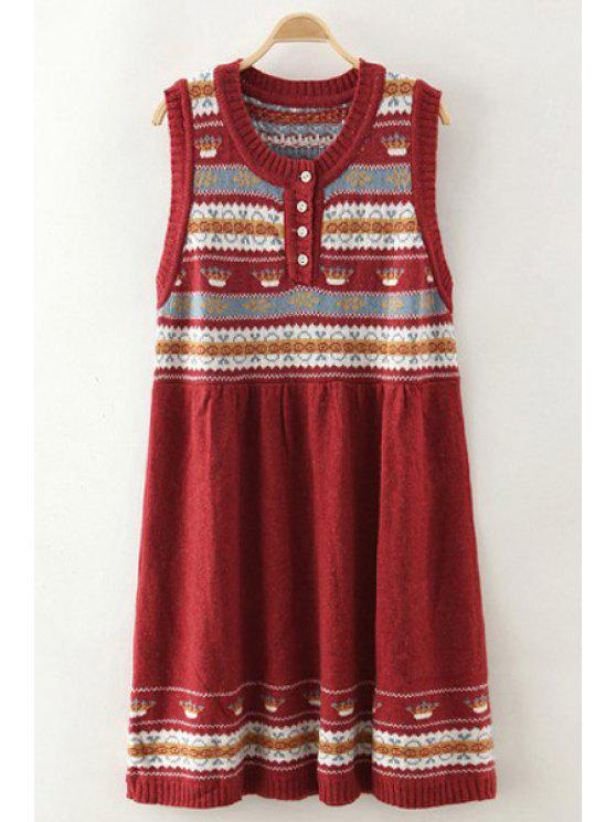 shop Scoop Neck Color Block Stripes Sleeveless Dress - RED ONE SIZE(FIT SIZE XS TO M)