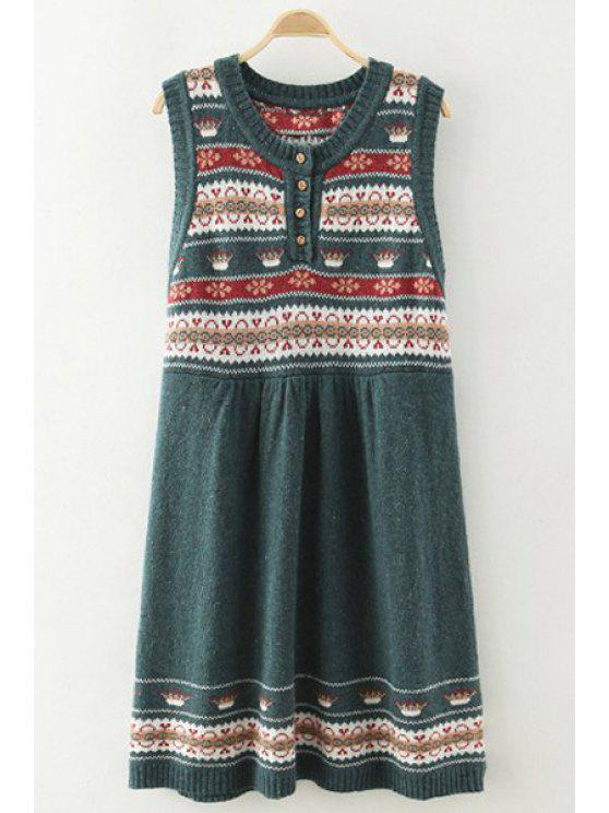 latest Scoop Neck Color Block Stripes Sleeveless Dress - GREEN ONE SIZE(FIT SIZE XS TO M)