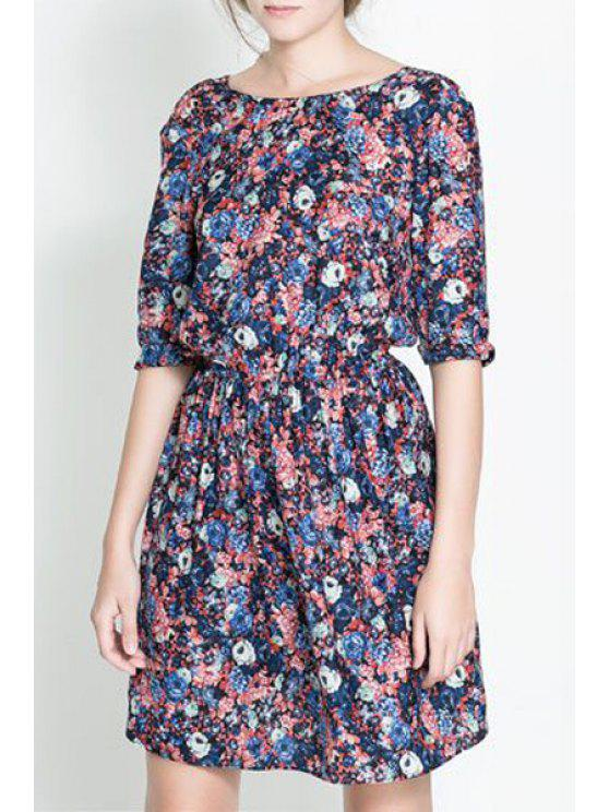 outfits Half Sleeves Tiny Floral Print Dress - BLUE S