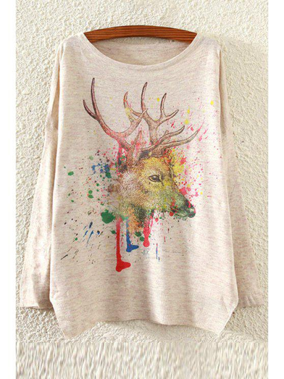 unique Colorful Deer Pattern Sweater - OFF-WHITE ONE SIZE(FIT SIZE XS TO M)