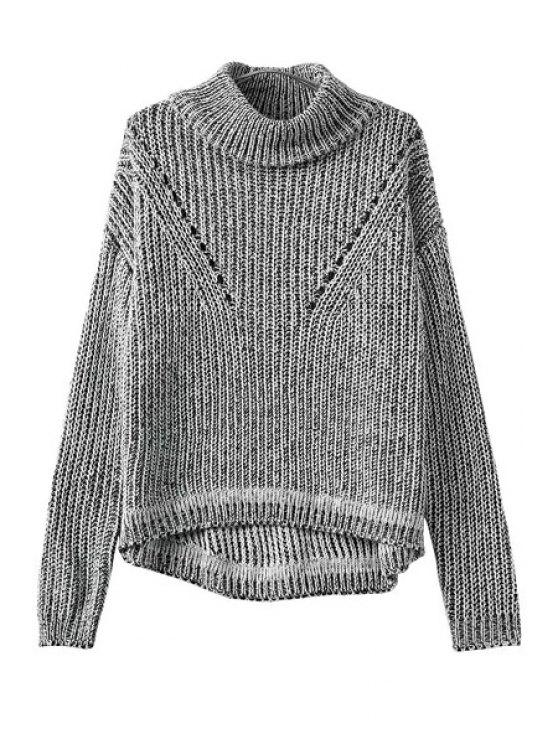 buy Turtle Neck Color Mixed Openwork Sweater - GRAY ONE SIZE(FIT SIZE XS TO M)