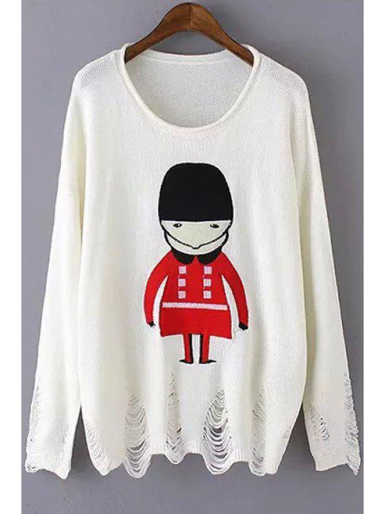 womens Scoop Neck Red Soldier Pattern Long Sleeve Sweater - WHITE ONE SIZE(FIT SIZE XS TO M)