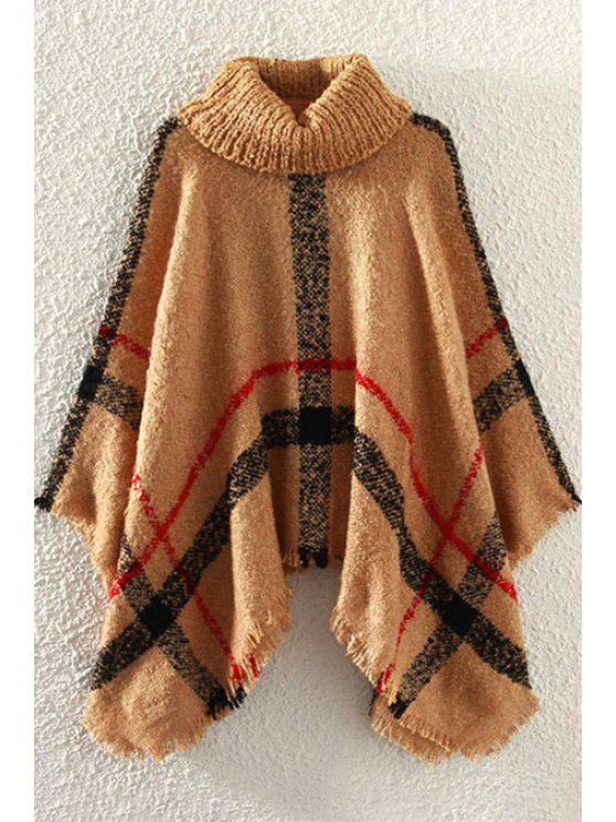 lady Turtle Neck Plaid Cape Sweater - BROWN ONE SIZE(FIT SIZE XS TO M)