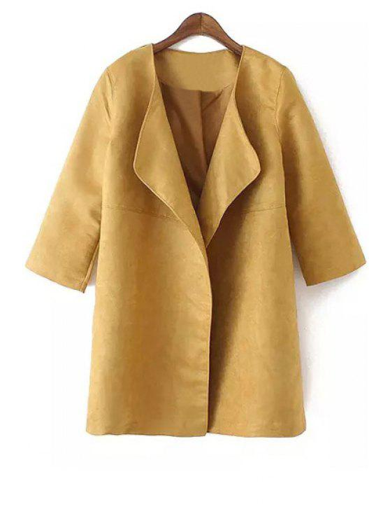 trendy Turn-Down Collar Faux Suede 3/4 Sleeve Trench Coat - KHAKI M
