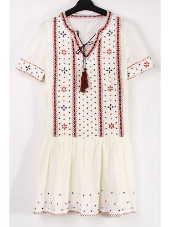 hot Ethnic Embroidery V Neck Short Sleeve Dress - AS THE PICTURE S