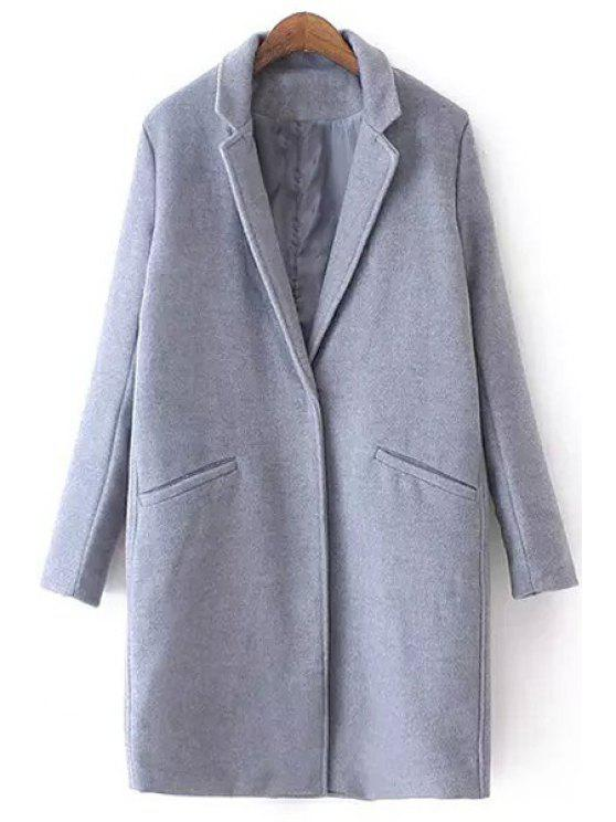 sale Lapel Pure Color Pocket Long Sleeve Trench Coat - GRAY S