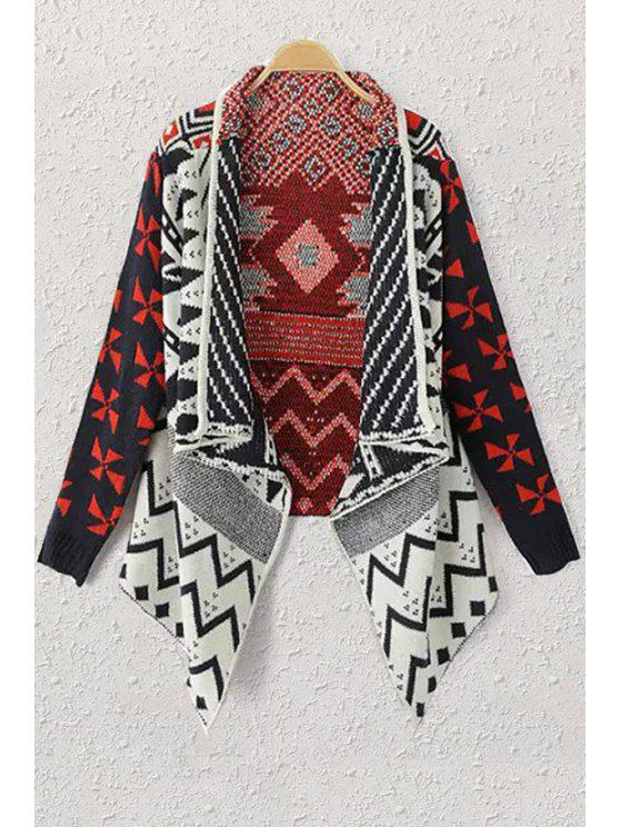shop Shawl Neck Geometric Pattern Cardigan - BLACK ONE SIZE(FIT SIZE XS TO M)