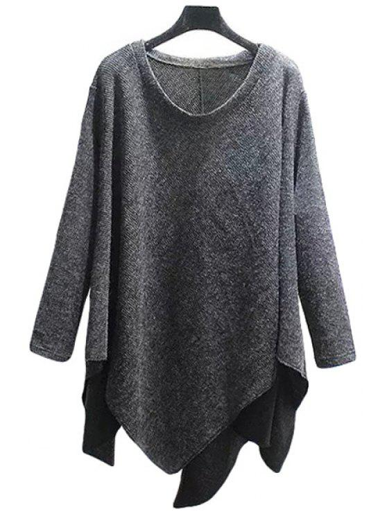 hot Scoop Neck Loose-Fitting Asymmetrical Sweater - GRAY ONE SIZE(FIT SIZE XS TO M)