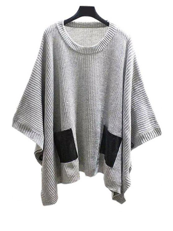 shop Scoop Neck Batwing Long Sleeve Sweater - GRAY ONE SIZE(FIT SIZE XS TO M)