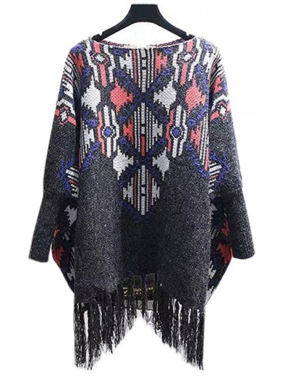 latest Boat Neck Color Block Fringe Long Sleeve Sweater - DEEP GRAY ONE SIZE(FIT SIZE XS TO M)