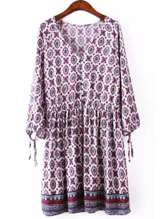hot V Neck Printed Tie-Up 3/4 Sleeve Dress - VIOLET ROSE S