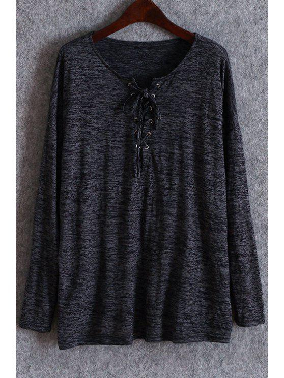 best Solid Color Lace-Up T-Shirt - BLACK ONE SIZE(FIT SIZE XS TO M)