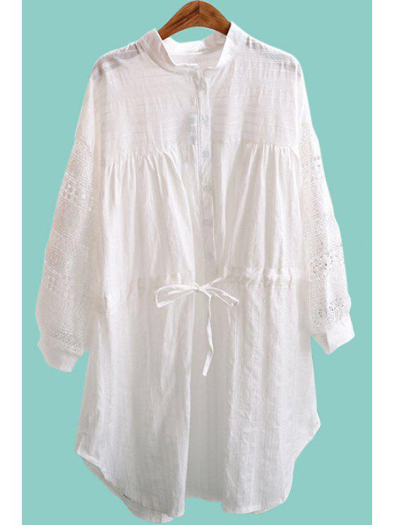 outfit Long Sleeve Single-Breasted Openwork Dress - MILK WHITE ONE SIZE(FIT SIZE XS TO M)