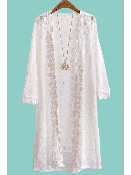 fashion Embroidered See-Through Long Blouse - WHITE ONE SIZE(FIT SIZE XS TO M)