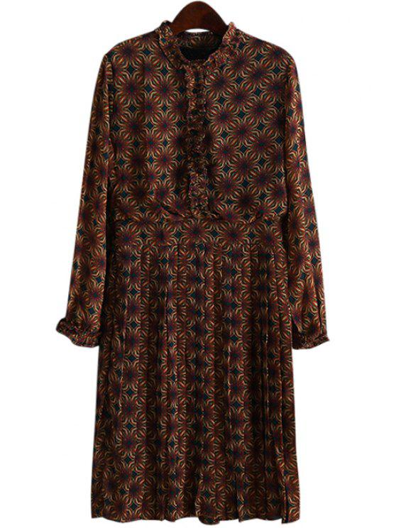 shops Ruff Collar Printed Pleated Midi Dress - BROWN ONE SIZE(FIT SIZE XS TO M)