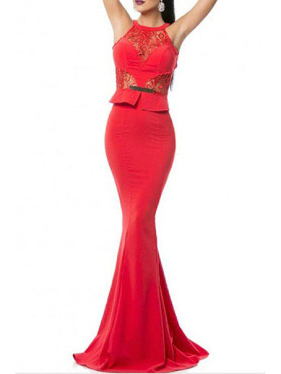 womens Lace Splicing Sleeveless Backless Mermaid Maxi Dress - RED M