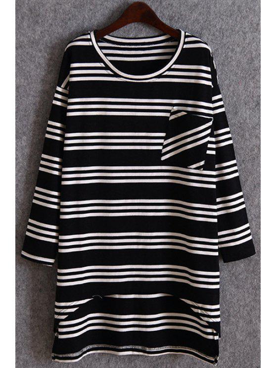 women's Striped Pocket Irregular Hem T-Shirt - BLACK ONE SIZE(FIT SIZE XS TO M)